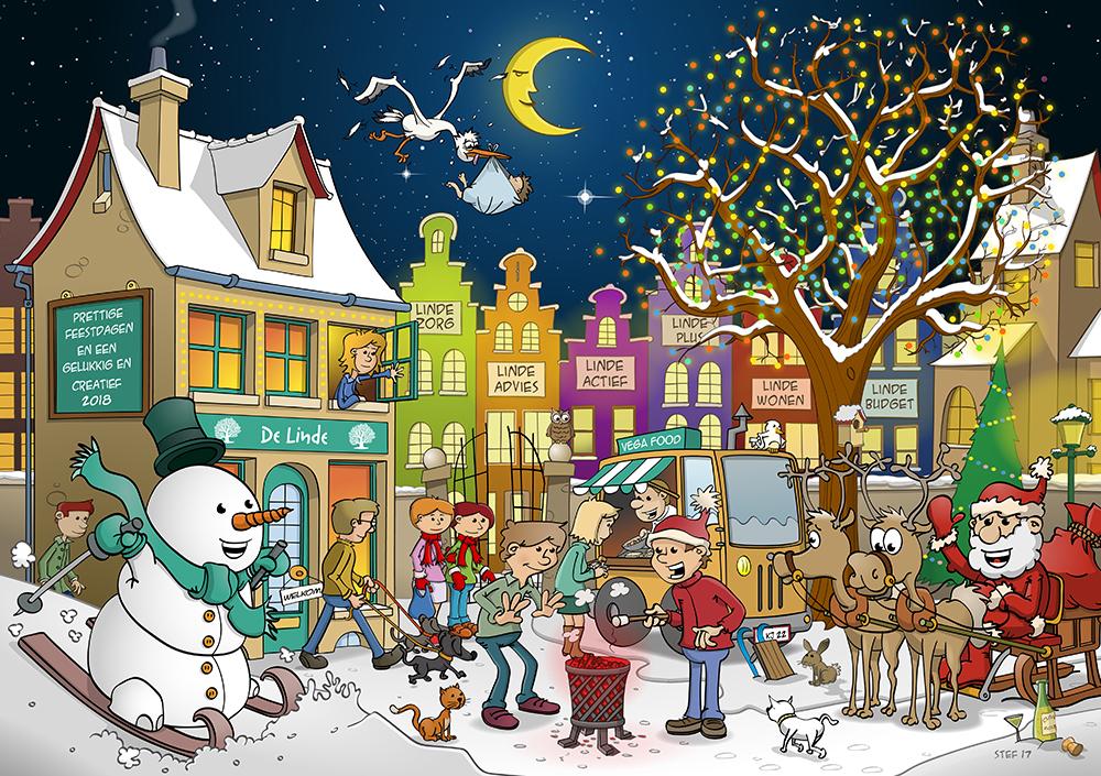 Kerstkaart 2017 voor stichting De Linde in opdracht van Typo Dynamo