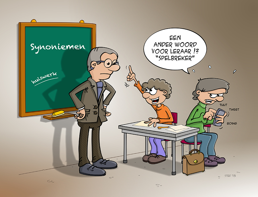 Cartoon; de leraar spelbreker.