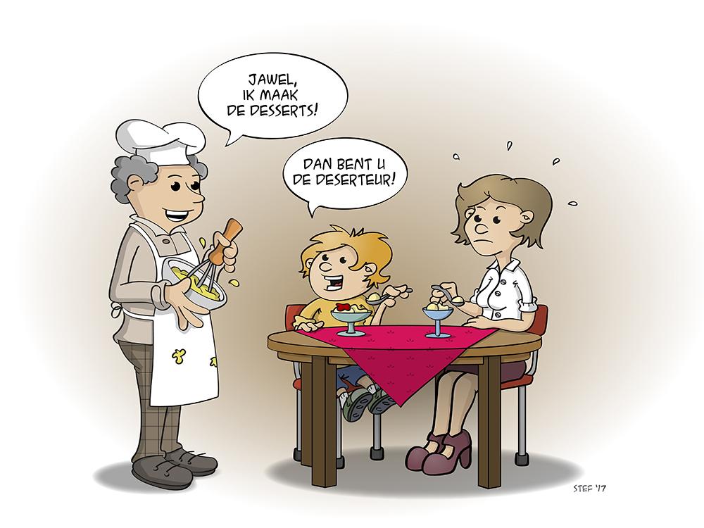 Cartoon; De desserteur maakt de desserts.