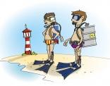 cartoon; Neem nooit een belg mee op duikvakantie!