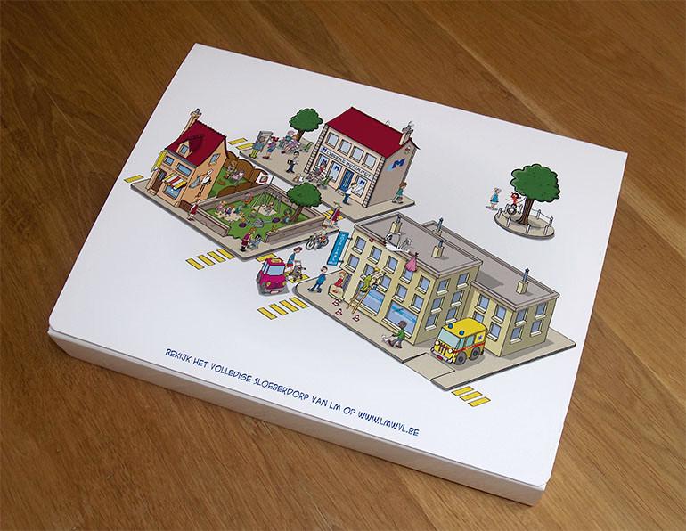 Geboortedoos, ontwerp in opdracht leiberale mutualiteit West-Vlaanderen