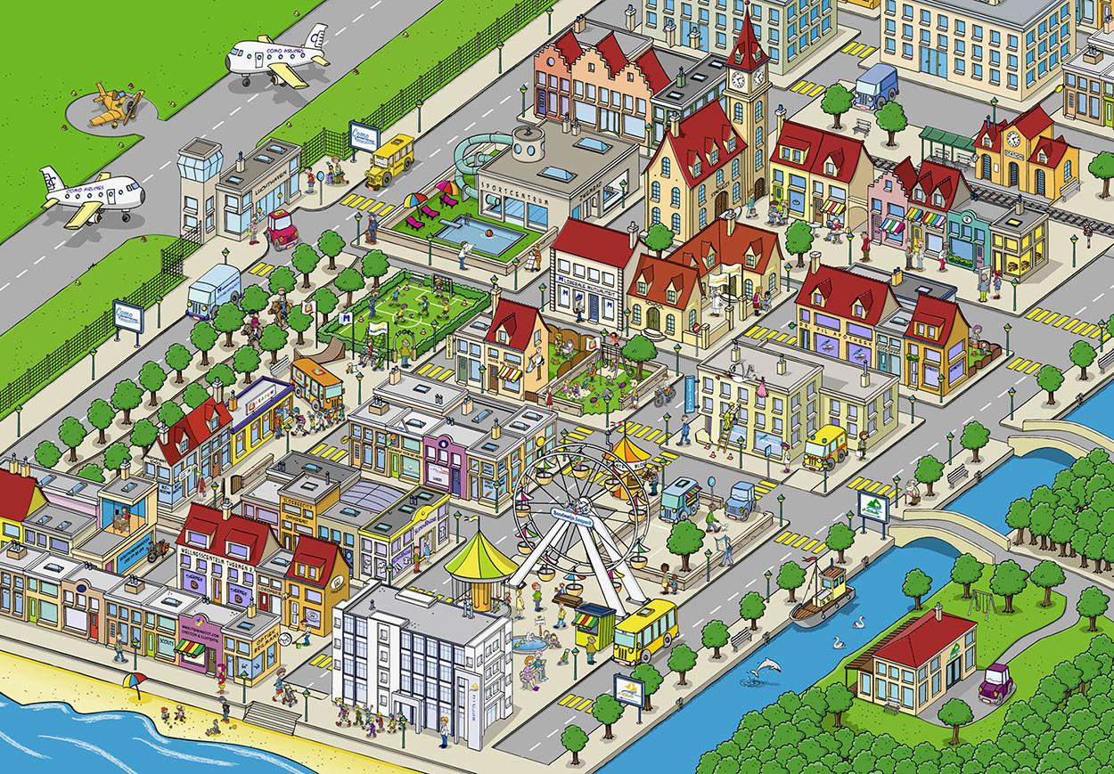 """Illustratie van een """"geboortedorp"""" in opdracht van de liberale mutualiteit van West Vlaanderen."""