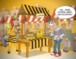 cartoon; Honing met een bijsmaak