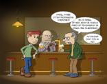 Cartoon; Vrouwelijke hormonen in bier