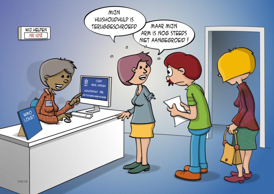 Cartoon over de teruggeschroefde huishoudhulp.