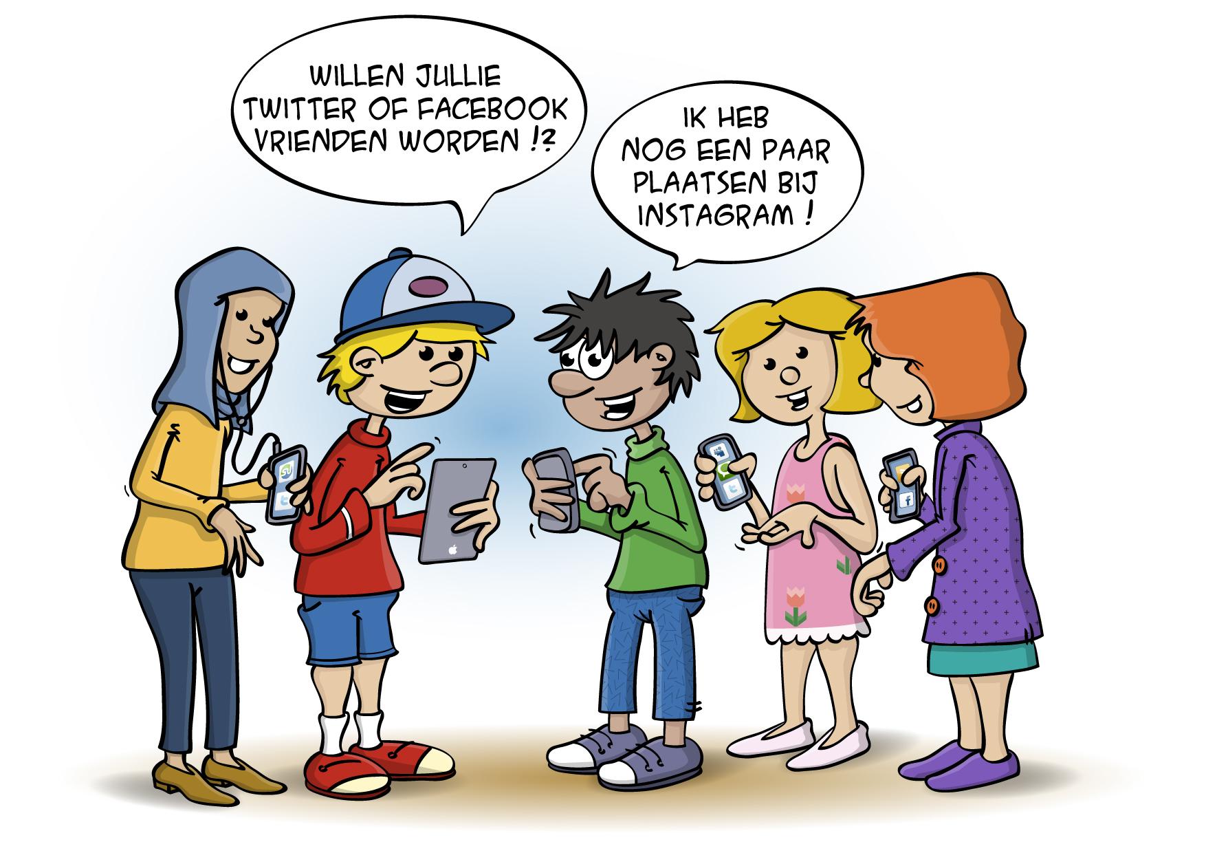 Educatieve Illustratie voor lesboek; Sociale media vrienden worden.