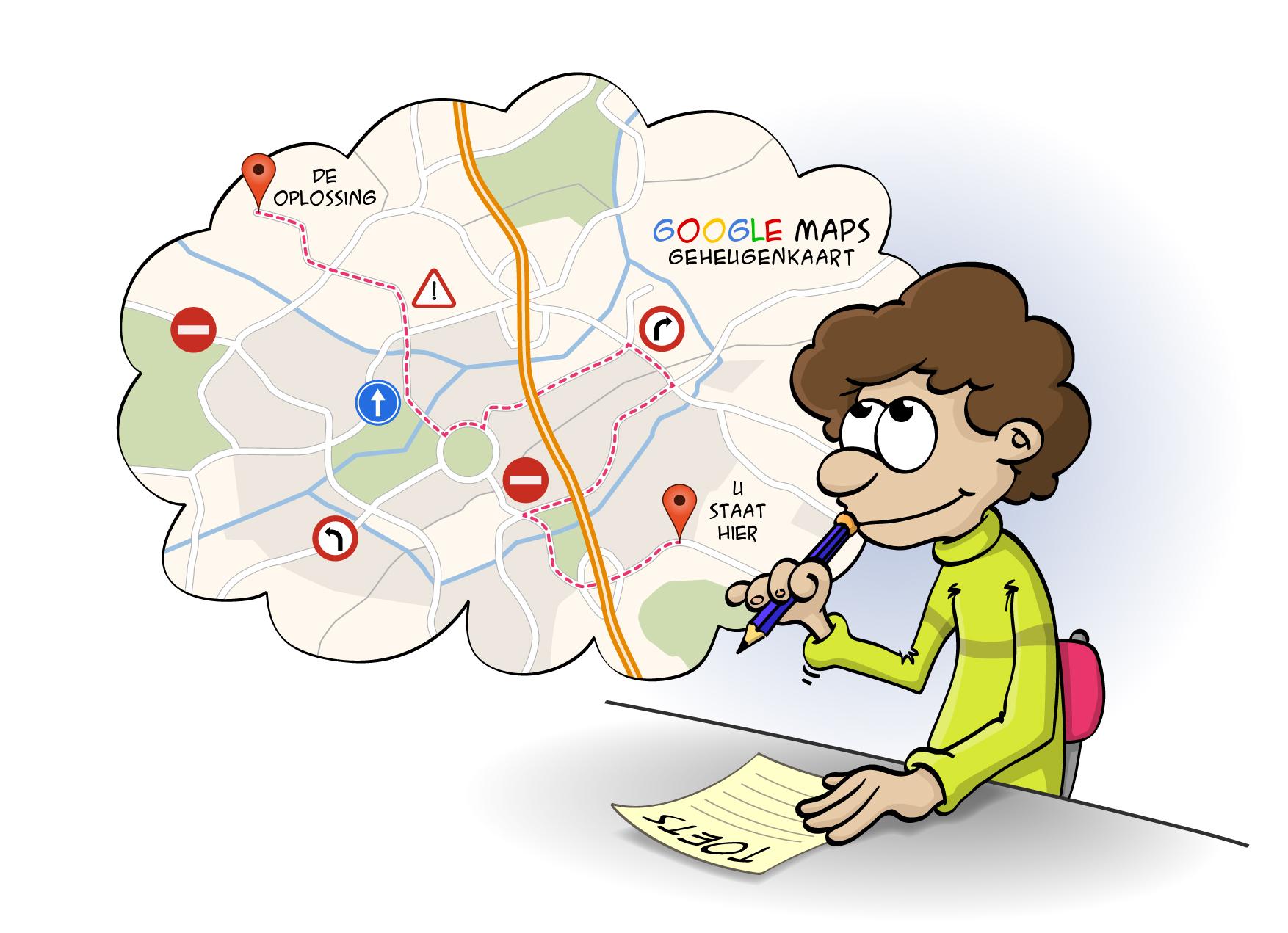 Educatieve Illustratie voor lesboek; Hersenkronkels en geheugenpaden