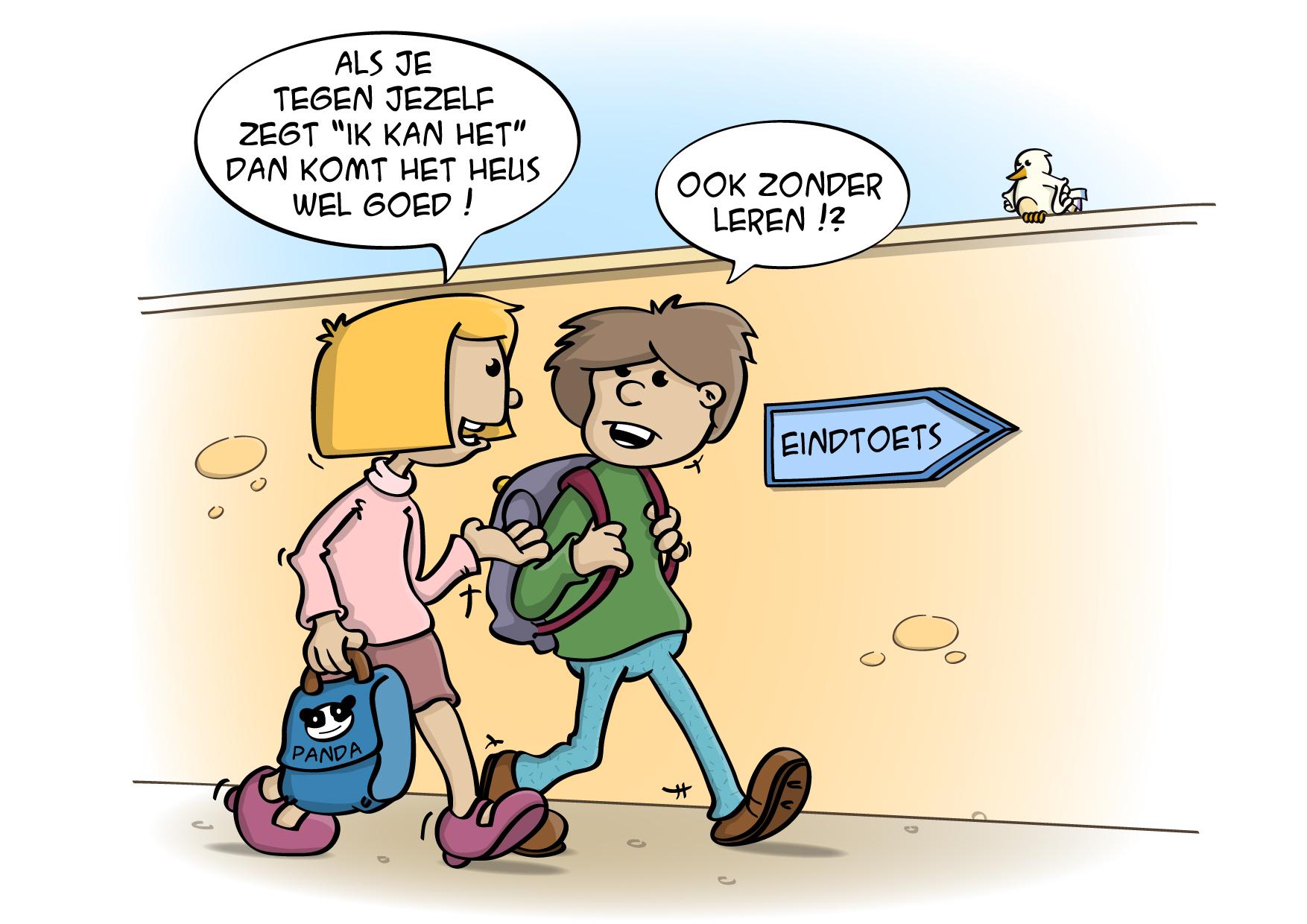 Educatieve Illustratie voor lesboek; Ook zonder leren komt het goed toch?
