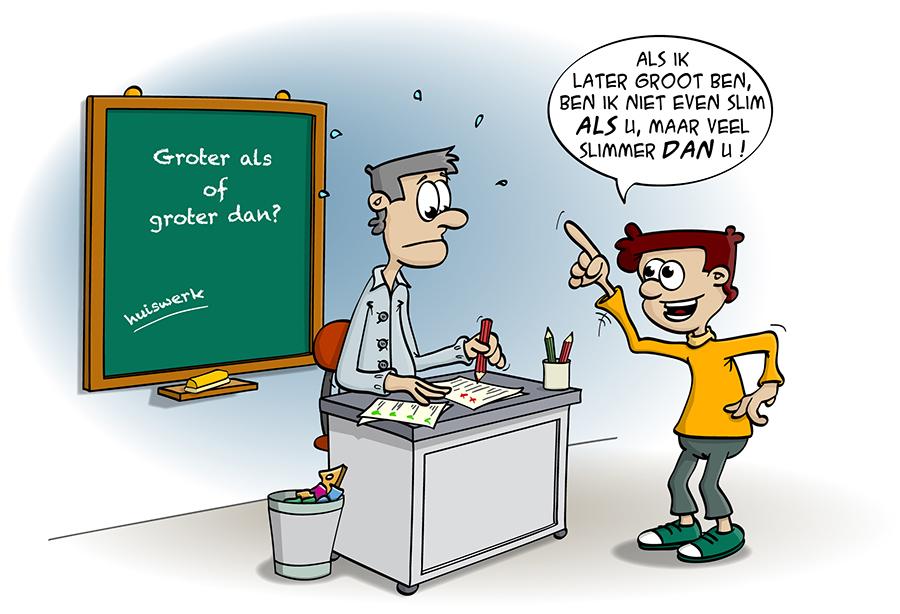 Educatieve Illustratie voor lesboek; Groter als of groter dan?