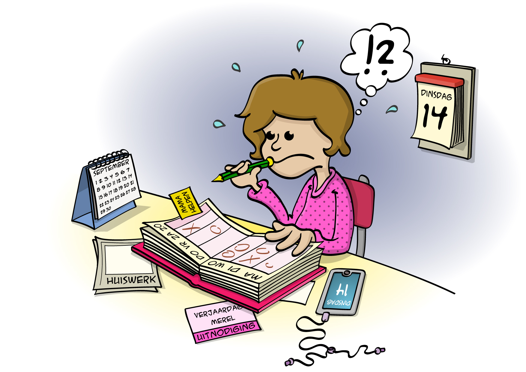 Educatieve Illustratie voor lesboek; Je agenda bijhouden