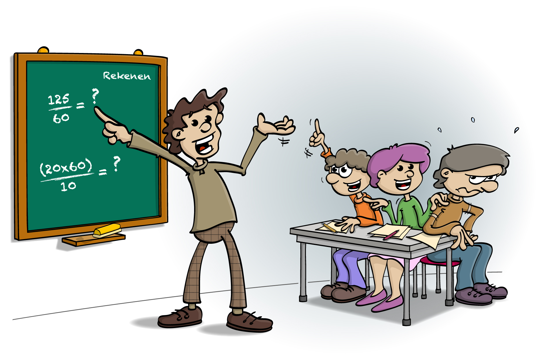Educatieve Illustratie voor lesboek; Iedereen kan leren rekenen