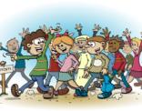 Educatieve Illustratie voor lesboek; Met zen allen naar de eindtoets