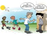 Educatieve Illustratie voor lesboek; een vierde man zoeken