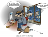 cartoon; inbreker gevat via twitter