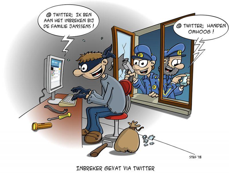 cartoon; inbreker gevat via twitter
