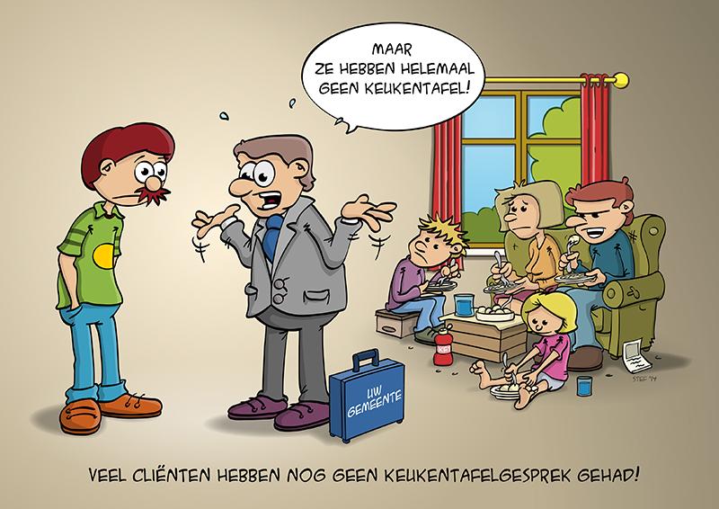 Cartoon; Het keukentafelgesprek van de gemeente