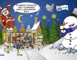 Kerstkaart ontworpen in opdracht van de Liberale Mutualiteit van West Vlaanderen