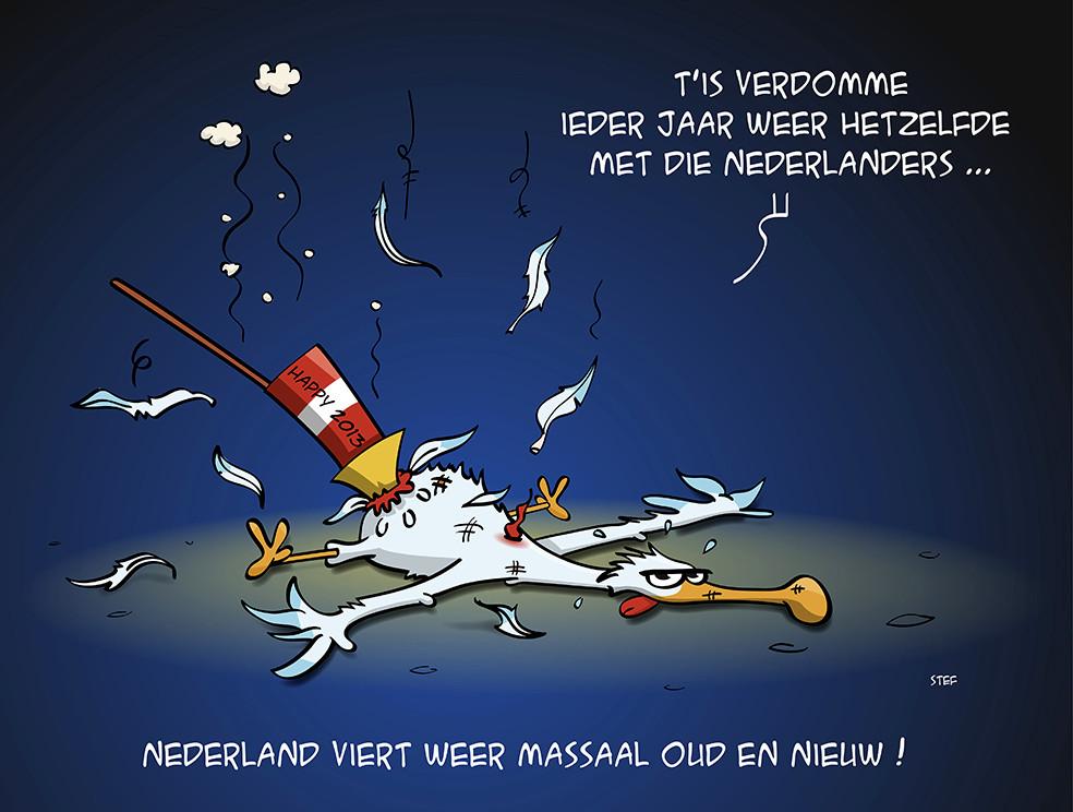 cartoon; Nederland viert massaal oud en nieuw