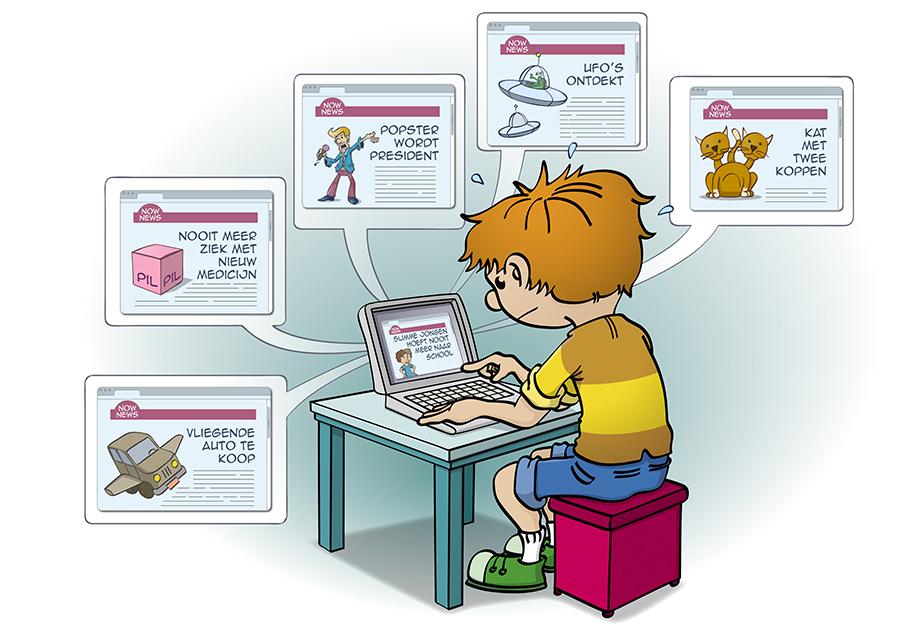 Educatieve illustratievoor junior informatie over nepnieuws.