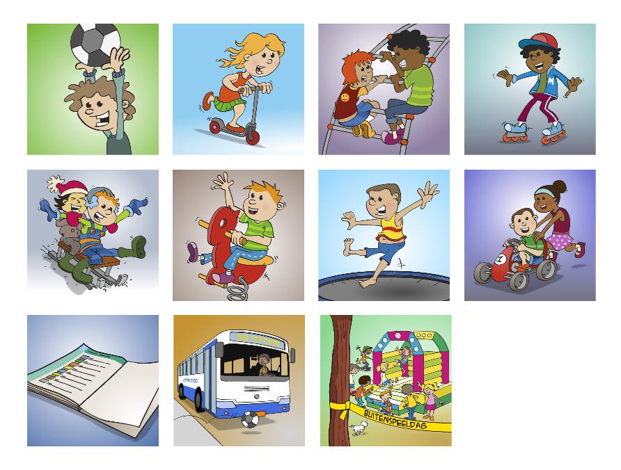 """Illustraties voor de Inhoudspagina van het boekje """"Buitenspelen"""""""