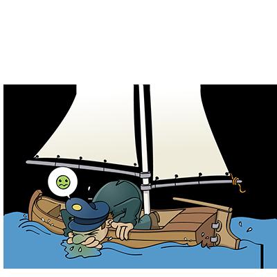 Zeeziekte - educatieve illustratie voor de Taalkanjers reeks van uitgeverij Pantyn