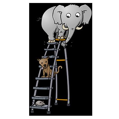 Muis, hond en olifant op een trap - educatieve illustratie voor de Taalkanjers reeks van uitgeverij Pantyn