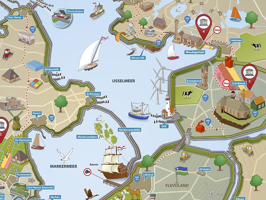 portfolio afbeelding van een geïllustreerde routekaart