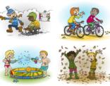 Ontwerp voor vier illustraties met al thema winter, zomer, herfst en lente.