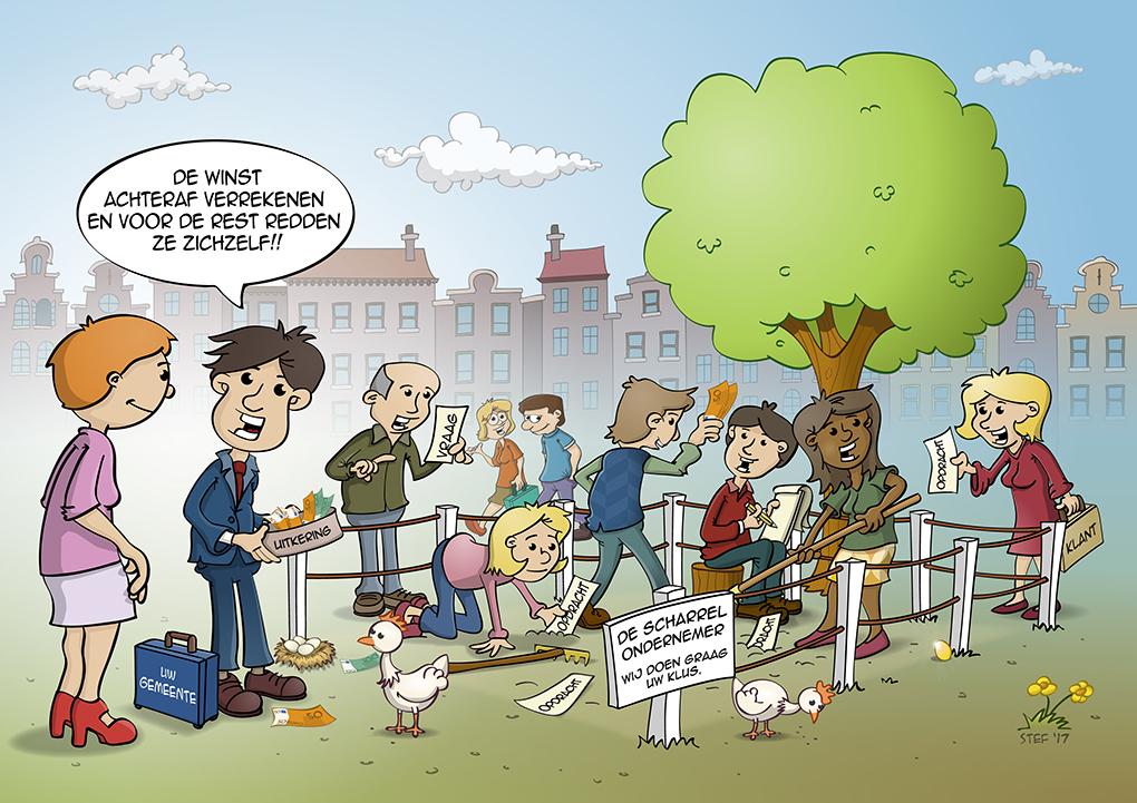 Cartoon over Scharrelondernemers