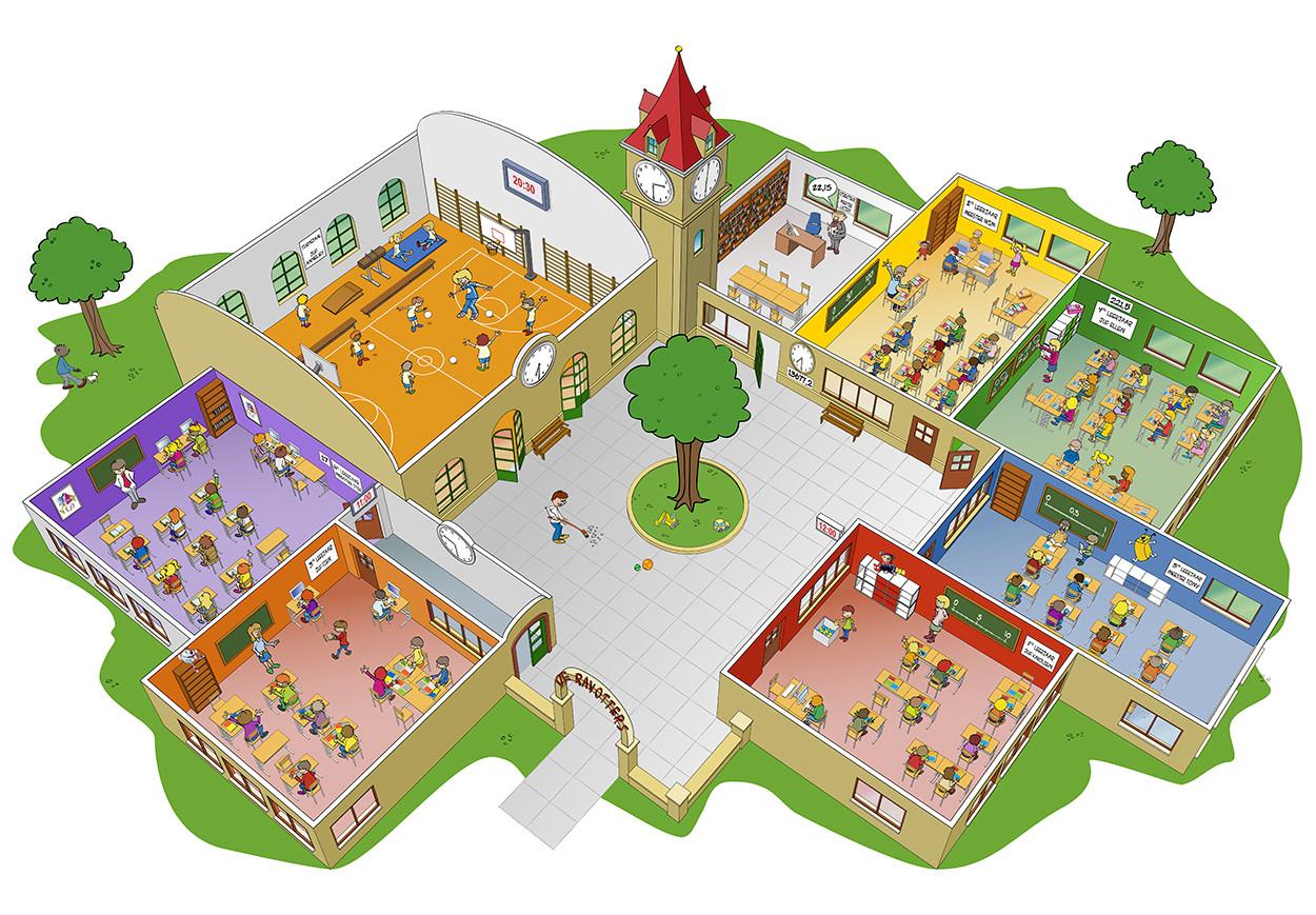 School illustratie in opdracht van Uitgeverij Zwijsen uit Belgie