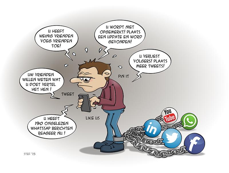 Cartoon; social media hangt als een blok aan je been