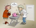 cartoon: Dierenartsen merken dat de crisis nog steeds niet voorbij is.