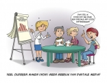 Cartoon; veel ouderen maken nog geen bebruik van Digitale media.