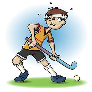 illustratie van een man die hocky speelt.