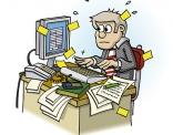 illustratie; druk bezig zijn aan het bureau