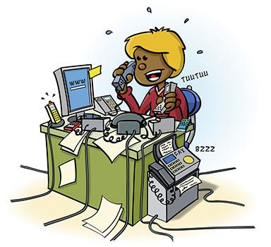 illustratie; druk aan het bellen aan het bureau