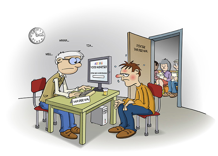 illustratie; bij de dokter