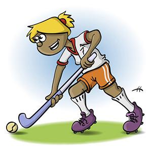 Illustratie, meisje speelt hockey