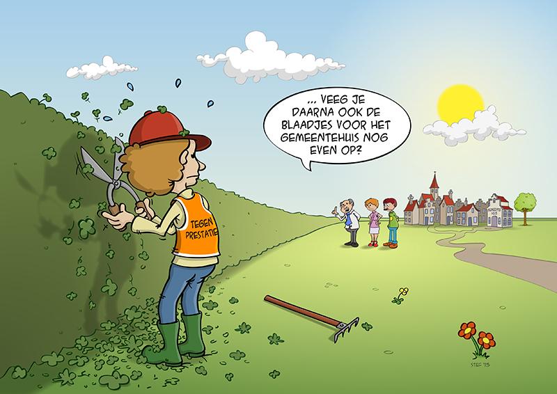 Cartoon over de tegenprestatie