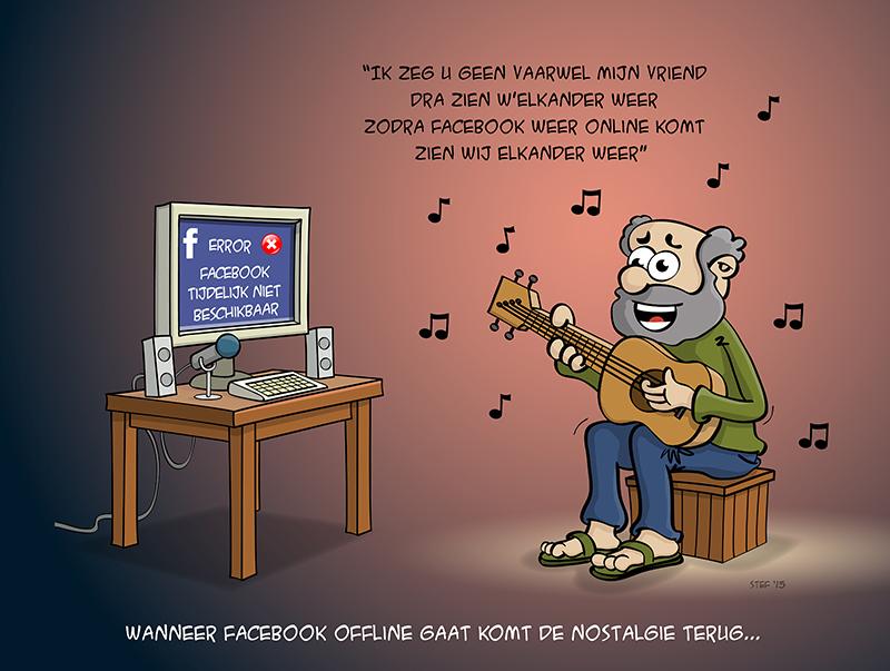 cartoon; Wanneer facebook offline gaat komt de nostalgie terug.