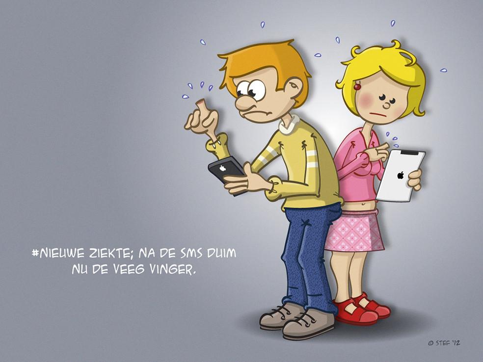 cartoon over een nieuwe ziekte Na de sms duim nu de veegvinger.
