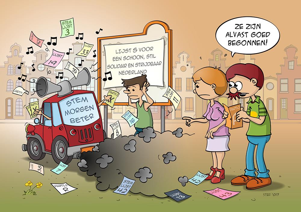 Cartoon over verkiezingen in Nederland.