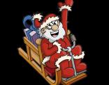 Illustratie van een vliegende kerstman