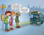 Cartoon over zwartrijden met de bus