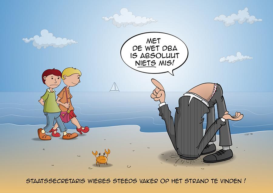 Staatssecretaris Wiebes steeds vaker op het strand te vinden.